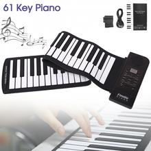 купить Portable 61 Keys Roll Up Flexible Silicone Piano USB Electronic MIDI Keyboard Organ Musical Instrument Early Educational For Kid в интернет-магазине