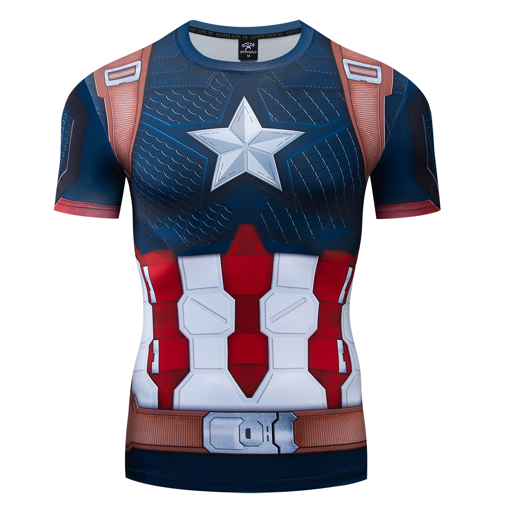 2020 The Endgame Superhero Captain America Cosplay Compression Premium T shirt Finess Gym Quick-Drying Tight Tops