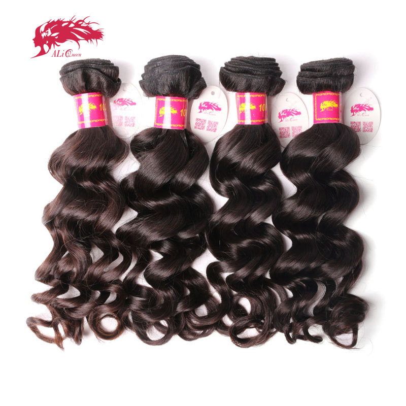 Ali Queen Hair 4Pcs Brazilian Natural Wave Hair Weave Bundles P/9A  Virgin Hair Bundles Natural Color 8-30 Inches Human Hair