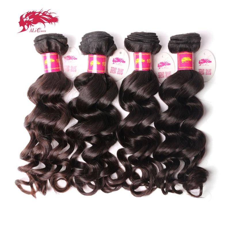 Ali Queen Hair 4Pcs Brazilian Natural Wave Hair Weave Bundles P/9A  Virgin Hair Bundles Natural Color 8-30 Inches Human Hair