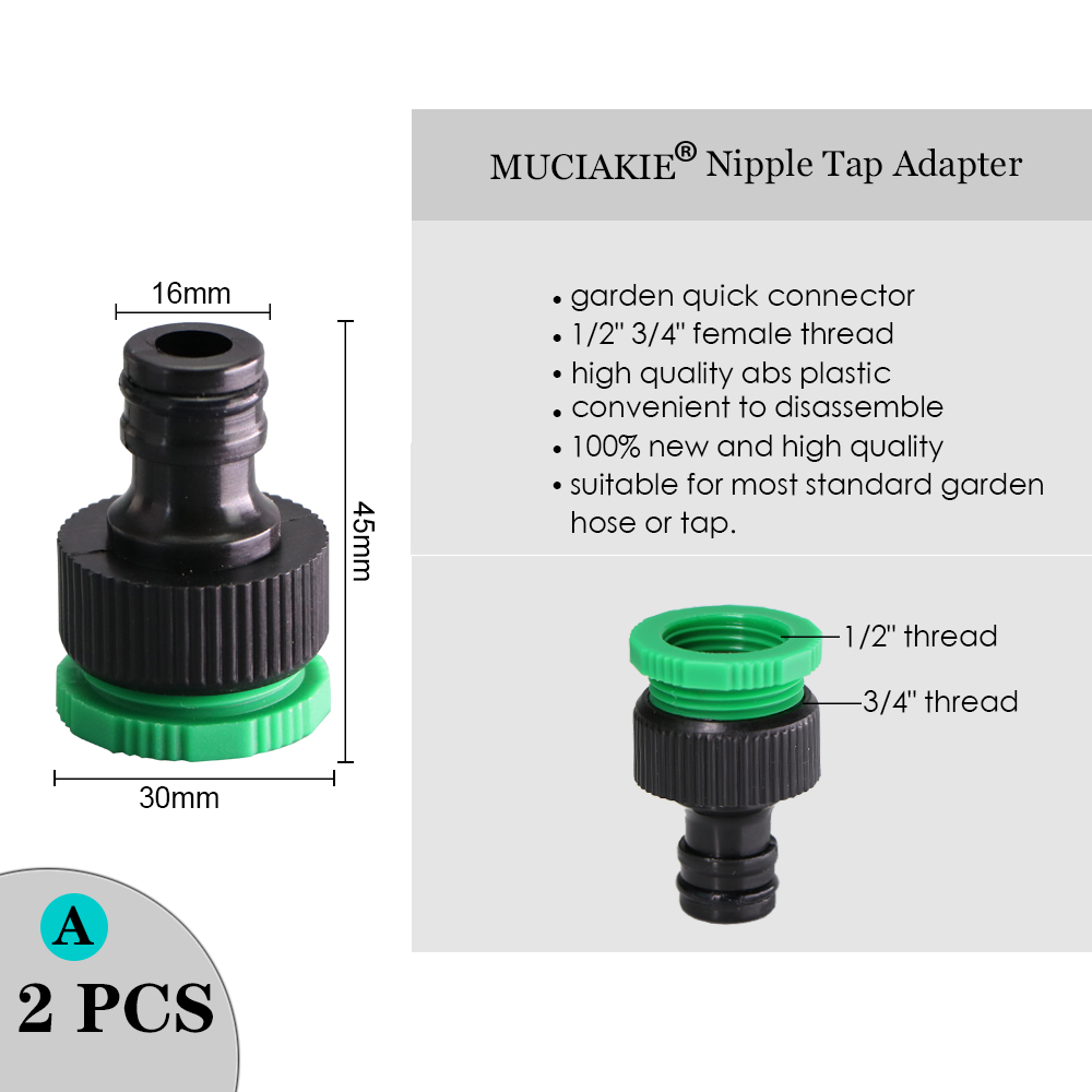 """H0a1564bb91b747a5bb350c7d325c4b56e MUCIAKIE Variety Style Garden Tap 1/2"""" 3/4"""" Male Female Thread Nipple Joint 1/4"""" Hose Quick Connector Irrigation Water Splitters"""
