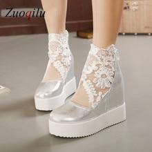 Silver White Lace Weedding Shoes Ladies Heels Wedge platform