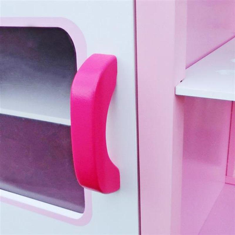 Розовый цвет дети ролевые игры деревянная кухня для девочек приготовления пищи игровой набор розовый моделирование косплей детские рождественские подарки - 4