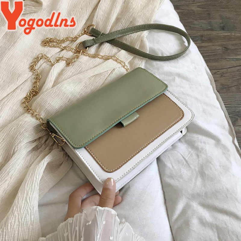 Yogodlns, bolso cuadrado pequeño de cadena de PU para mujer, nueva versión coreana del 2020, Bolso con solapa de Color de contraste, bolso de hombro de moda desenfadado