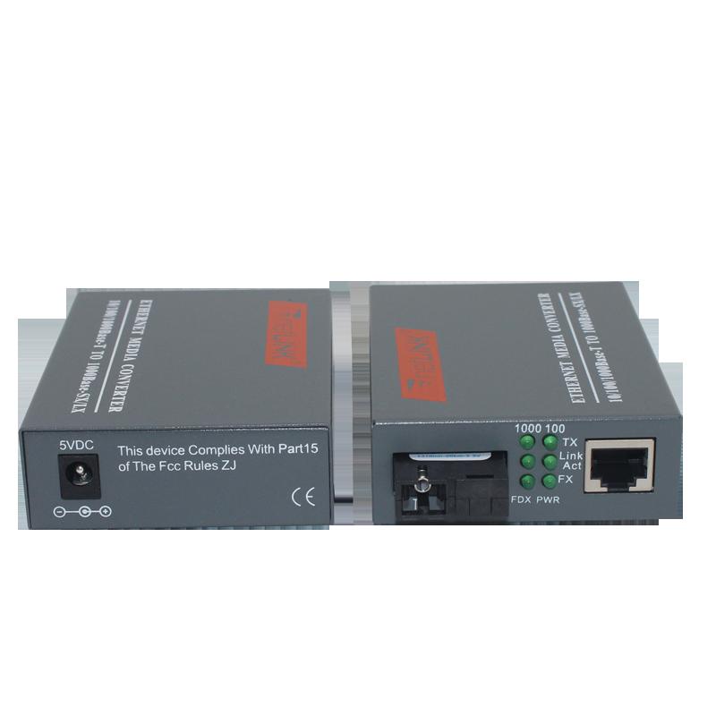 1 Pair HTB-GS-03 A/B Gigabit Fiber Optical Media Converter 1000Mbps Single Mode Single Fiber SC Port 20KM