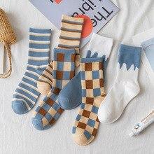 Socks And Cotton Crew Sox Ing Grid Spring Harajuku Comfortable Stripe Japan Korea Fashion