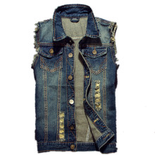 2019 Ripped Jean Jacket Men's Denim Vest Hip Hop Jean Coats Waistcoat Men Cowboy Brand Sleeveless Jacket Male Tank Plus Size 6XL(China)