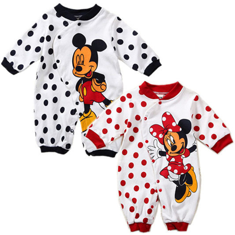Jumpsuit Rompers Long-Sleeve Mickey Baby-Girls Minnie-Print Spring Cotton Autumn Cartoon title=