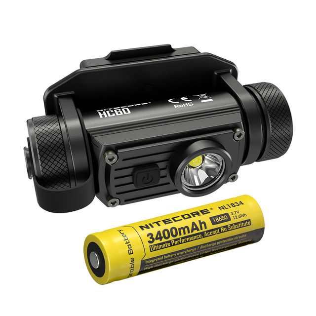 Nitecore hc60m 1000 lumen cree u2 led + montagem nvg 18650 bateria recarregável capacete luz viagem à prova dwaterproof água ao ar livre frete grátis