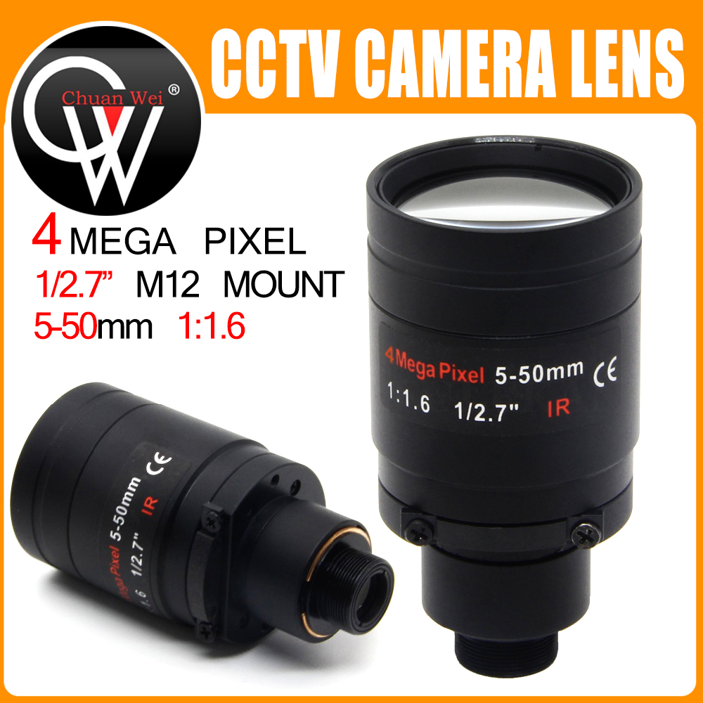 4Megapixel Varifocal Lens 5-50mm M12 Mount CCTV Long Distance View 1/2.7 Inch Manual Focus And Zoom For HD IP/AHD Camera