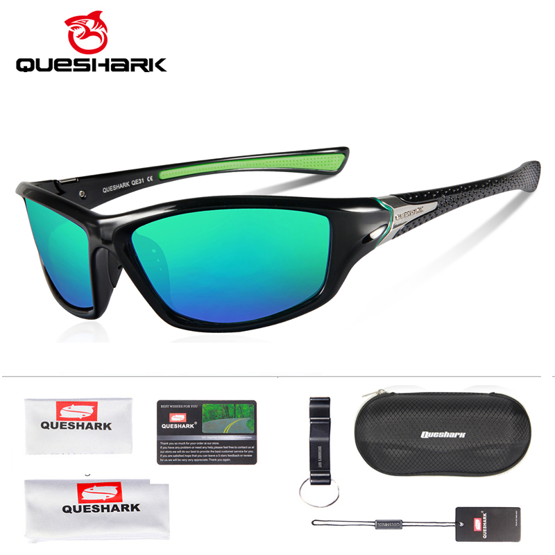 Queshark tr90 untralight quadro hd óculos de sol polarizados óculos de pesca ciclismo para homens mulher esporte caminhadas corrida golfe