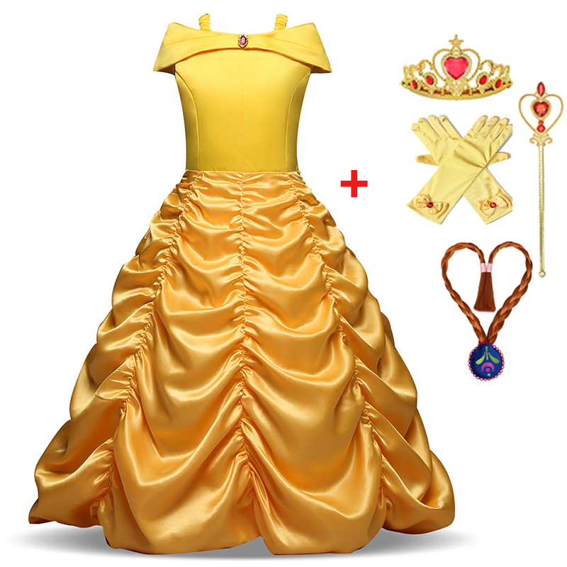 Girls Dress Summer Beauty And Beast Belle Princess Dress Kids Dresses For Girls Costume Carnival Cosplay Party Children Clothing