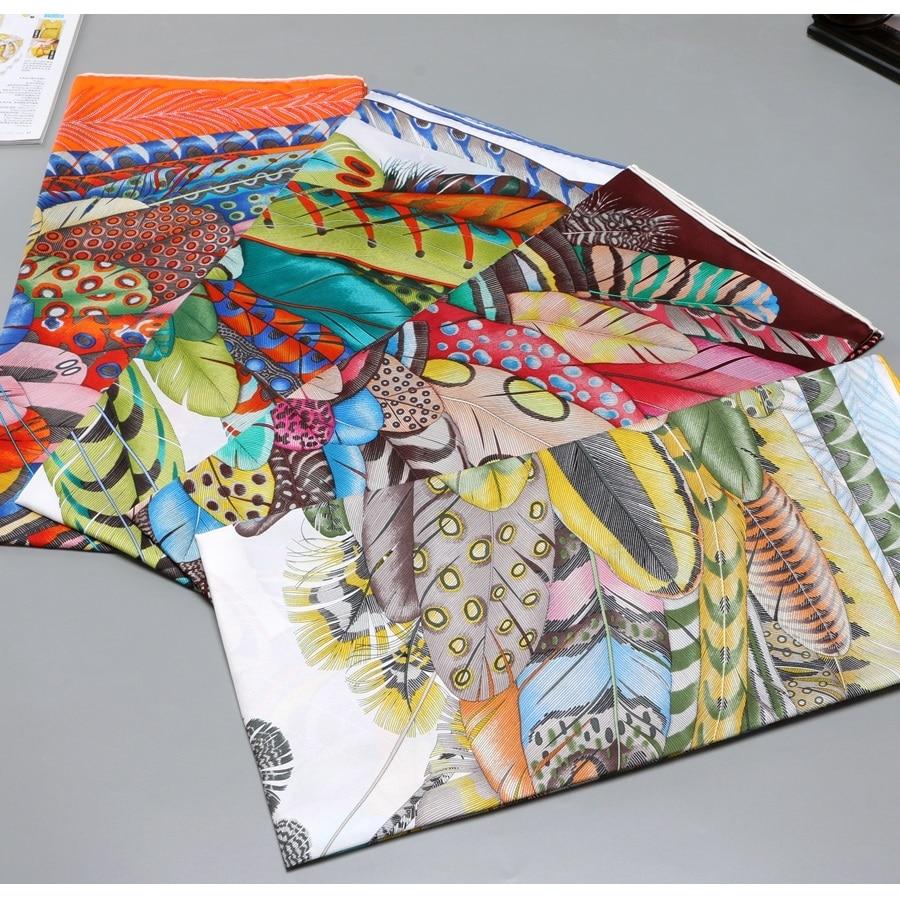 Feathers Print 100% Silk Scarf Shawl Wraps Foulard 2020 Fashion Clothing Accessories 35