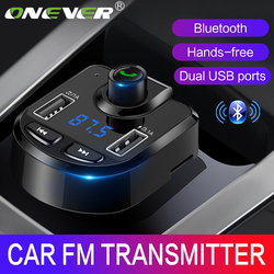 Onever FM Transmitter Wireless Bluetooth MP3 Player Support TF USB Disk Car 3.1A Dual USB Charger for iPhone GPS FM Modulator