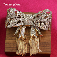 Timeless Wonder Stunning Encrusted Stone Bowknot Tassel Brooch Pin Women Jewelry for Gown Gothic Brand Designer Rare Boho 5752