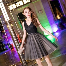 Black Tulle Cocktail Dresses 2020 Elegant Short Prom Gowns Women Simple V-Neck Prom Party Night Sexy Graduation Homecoming Dress 2020 light sky blue lace graduation short prom dresses bateau neck satin ruched mini homecoming party cocktail dress for girls