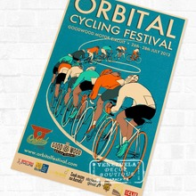Orbital Cycling Festival Marathon Vintage cartel Retro de Kraft decorativo DIY pared lienzo pegatinas hogar Bar arte decoración de carteles