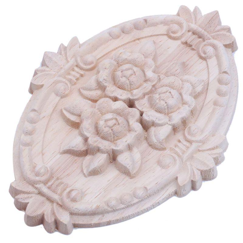 New-Retro Wood Ornament Applique Carving Ornament For Cabinet Door Furniture Decoration(13X9cm)