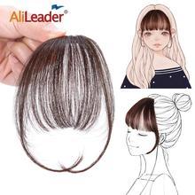 Alileader Stompe Pony Natuurlijke Menselijk Air Pony Clip Op Haarverlenging Nep Pony Front Straight Human Fake Haarstukje Zwart Bruin