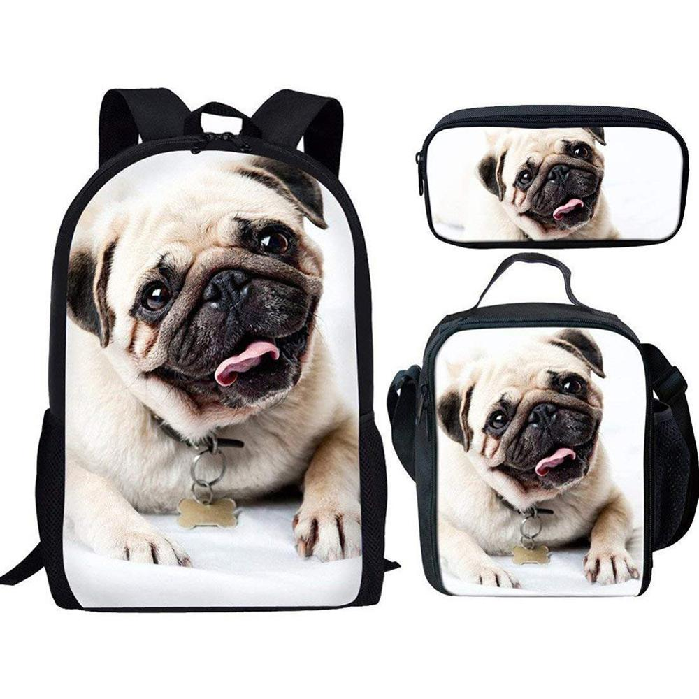 Cute Pug Backpack Children Girls School Bags,Pencil Bag,Kids Lunch Bags Set Sale