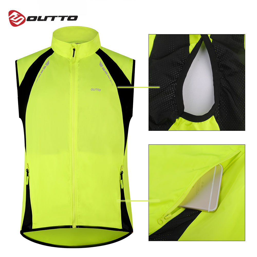 Outto Mens Reflective Running Cycling Vest for Safty and Windproof