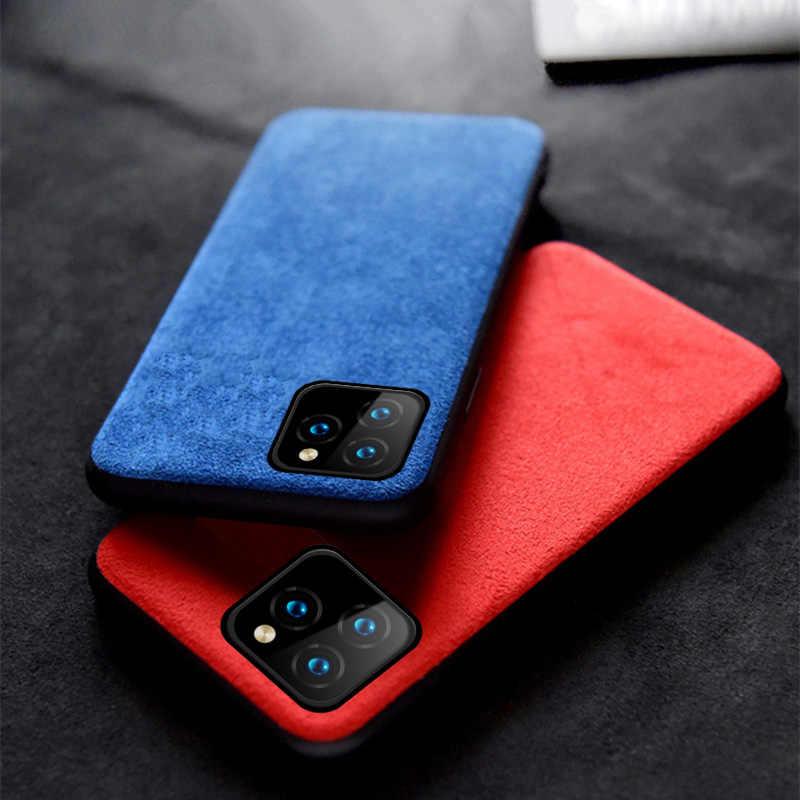 Vaca genuína camurça couro caso do telefone para apple iphone 11 11pro 11 pro max x xr xs max 6 s 7 8 plus 360 capa protetora completa