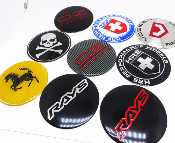 4pcs 65mm Wheel Center Cap Hub Cover Sticker for OZ Rays RACING Skull HRE Vossen Horse Lable Emblems Car Styling Badge image