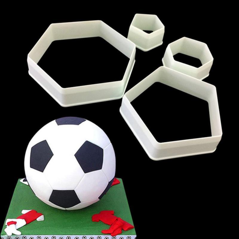 Шестиугольная футбольная Пластиковая форма для печенья, сахарная форма для украшения тортов мастикой