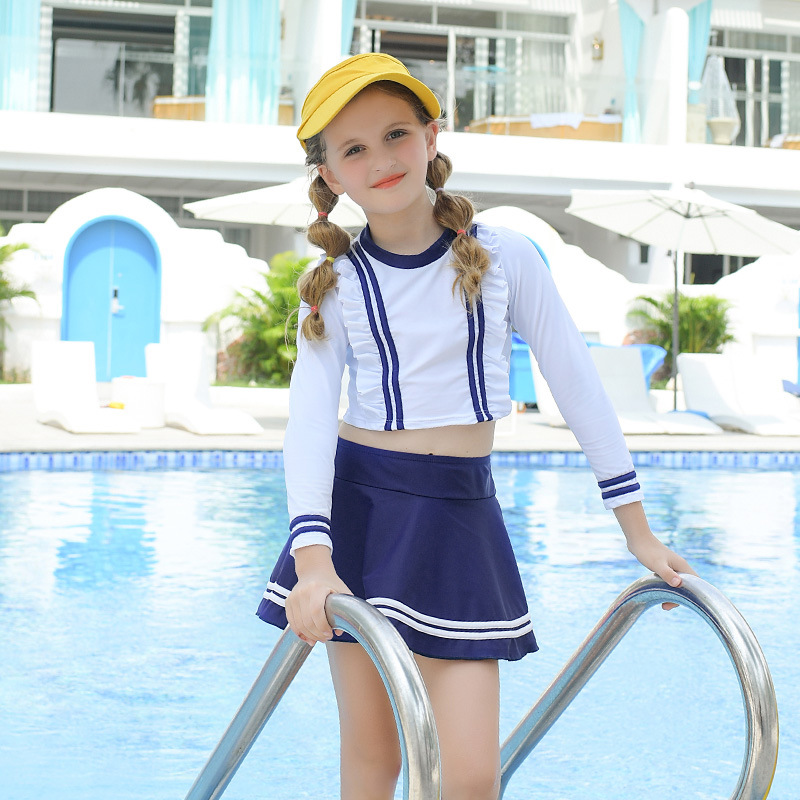 2019 New Style Hot Sales KID'S Swimwear Long Sleeve Short Skirt Sun-resistant Split Type Blue And White Navy Hipster GIRL'S Swim