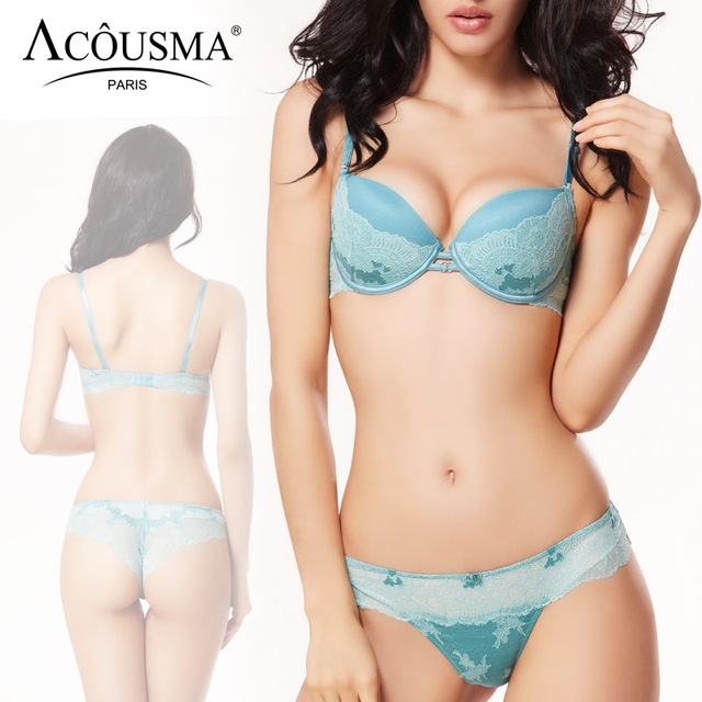 ACOUSMA Women Ladies Sexy Bra and Panty Sets Lace Rhinestone Brassiere Females Underwear Lingerie Set Seamless T Back Thongs