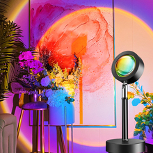 Sunset Lamp Colorful Button Rainbow Sunset Projector Atmosphere Led Night Lights Home Decor Coffee Shop Bar Sunset Halo Lamp cheap NoEnName_Null Ball CN(Origin) HOLIDAY