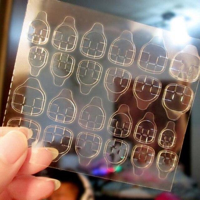 Lamemoria 10Sheet DIY Nail Tip Transparent Double Sided Self Adhesive Sticker Jelly Waterproof False Art Extension Glue Tool 3
