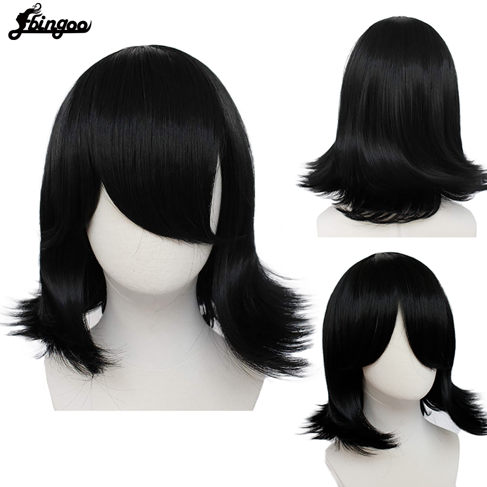 Ebingoo Hair Cap+Voltron Keith Wig Short Black Synthetic Cosplay Wigs with Side Bangs for Men Costume Party Heat Resistant Fiber