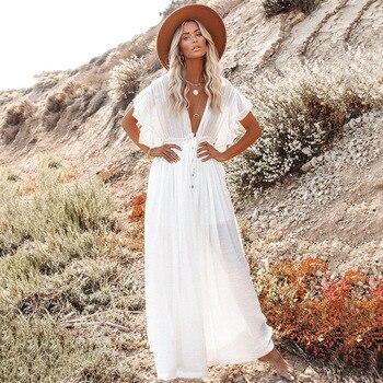TEELYNN Sexy Deep V Neck Maxi Dress women Backless White Cotton Boho dresses Summer Ruffles 2020 Casual beach Bikini Cover Up