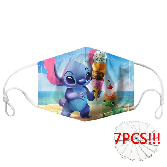 Customized Cartoon Anime Lilo Stitch Print Mask Mouth Breathbale Reusable Filter Face Mouth Mask for Women/Men Mask 2