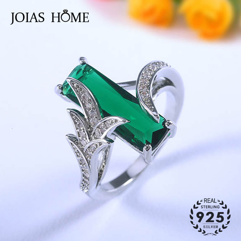 JoiasHome Classic Silver 925 Rings With 6*18mm Rectangle Shape Emerald Gemstone Ring For Women Wedding Party Gift Size 6-10
