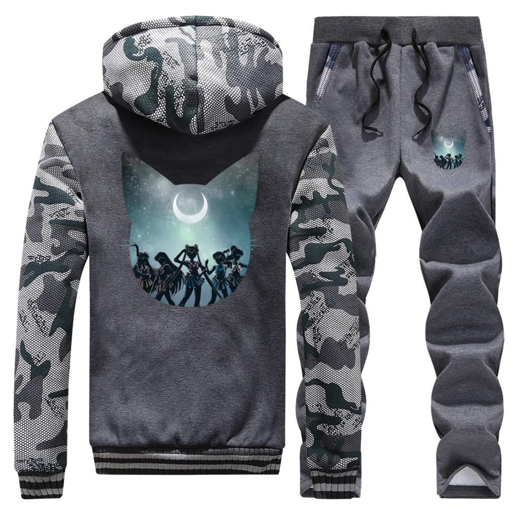Sailor Moon Male Thick Sweatshirts Warm Trousers Winter New Brand Sports Sets Men 2 Piece Suit Biker Clothing Camouflage Jackets