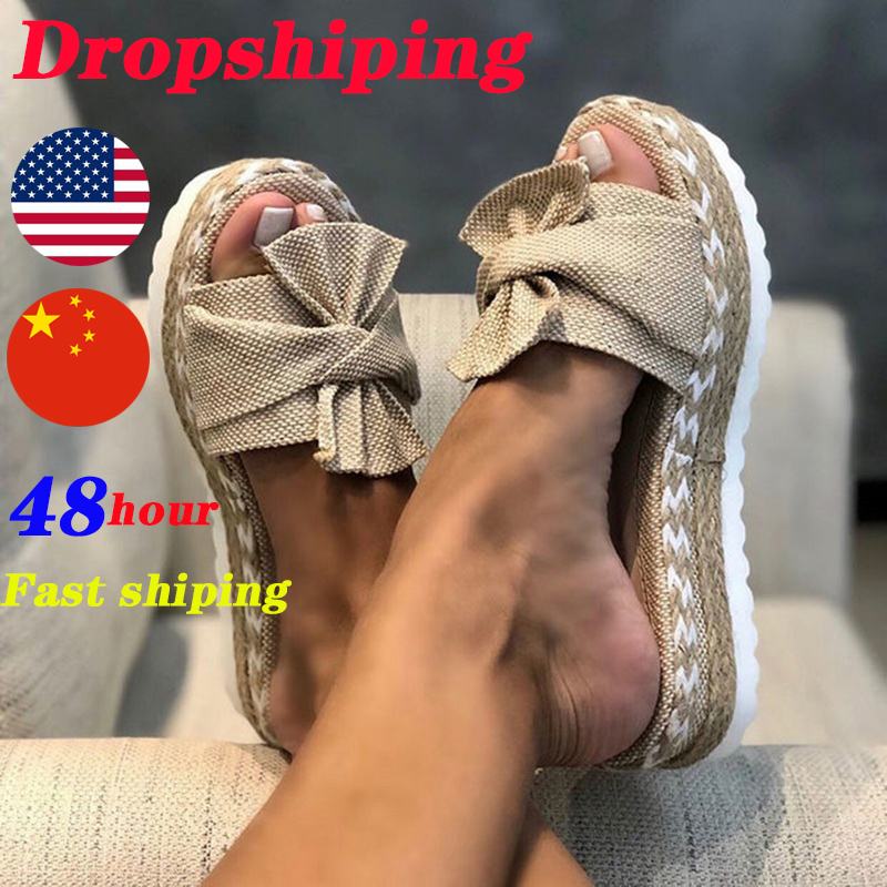 Fast Shiping ! Slippers Women Slides Summer Bow Summer Sandals Bow-Knot Slippers With Thick Soles Female Floral Beach Shoes
