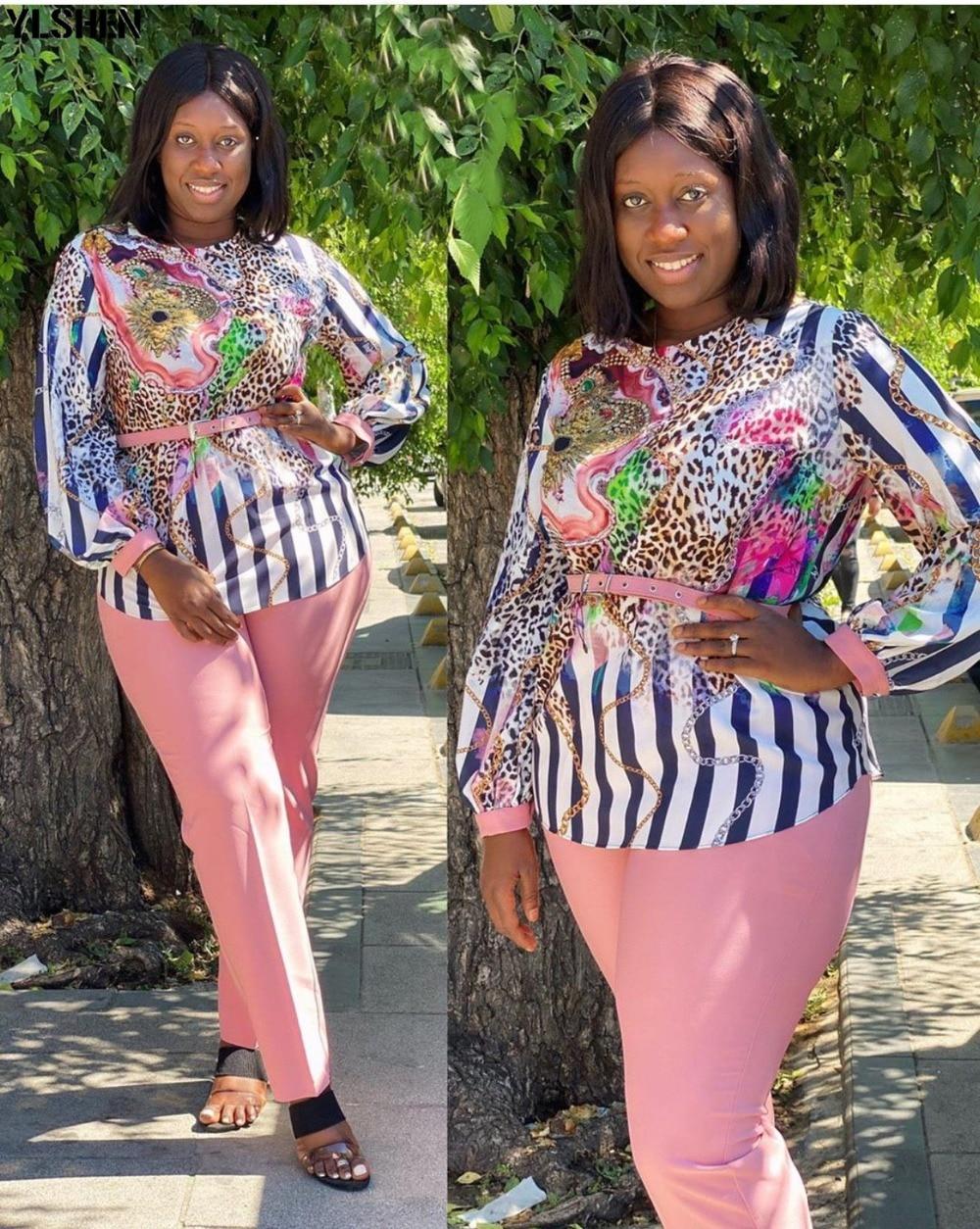 Two 2 Piece Set African Clothes Africa 2020 Dashiki Fashion Print Dresses Suit Bazin Top Pants Elastic Party Plus Size Clothing 10
