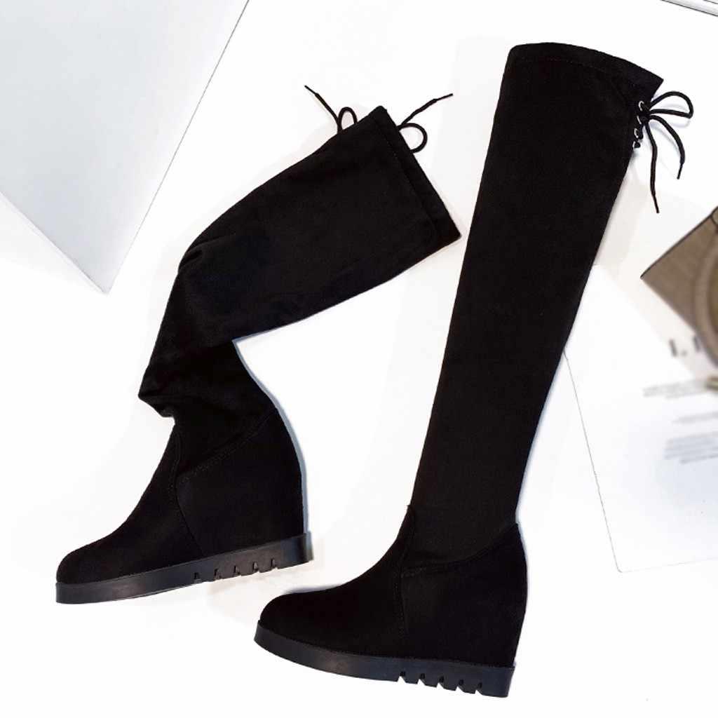รองเท้าผู้หญิงสีดำรองเท้าผู้หญิง bow lacing ยาว botas mujer invierno 2019 แบนฤดูหนาวรองเท้าผู้หญิง Wedge botas mujer