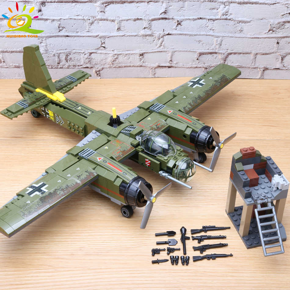 559pcs Military Ju-88 bombing plane Building Block WW2 Helicopter Army weapon soldier Legoing model bricks kit Toys for children
