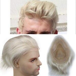 Image 1 - #60 блонд человеческие волосы для мужчин моно прозрачный кружевной парик с кожей ПУ около 8X10 кружевной топ европейские волосы Remy Eseewigs
