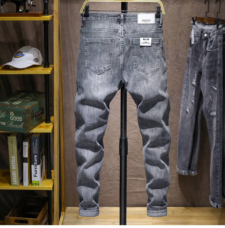 Mens Skinny Jeans Pants Gray Light Blue Stretch Jeans Men Brand Quality Fashion Casual Denim Pants