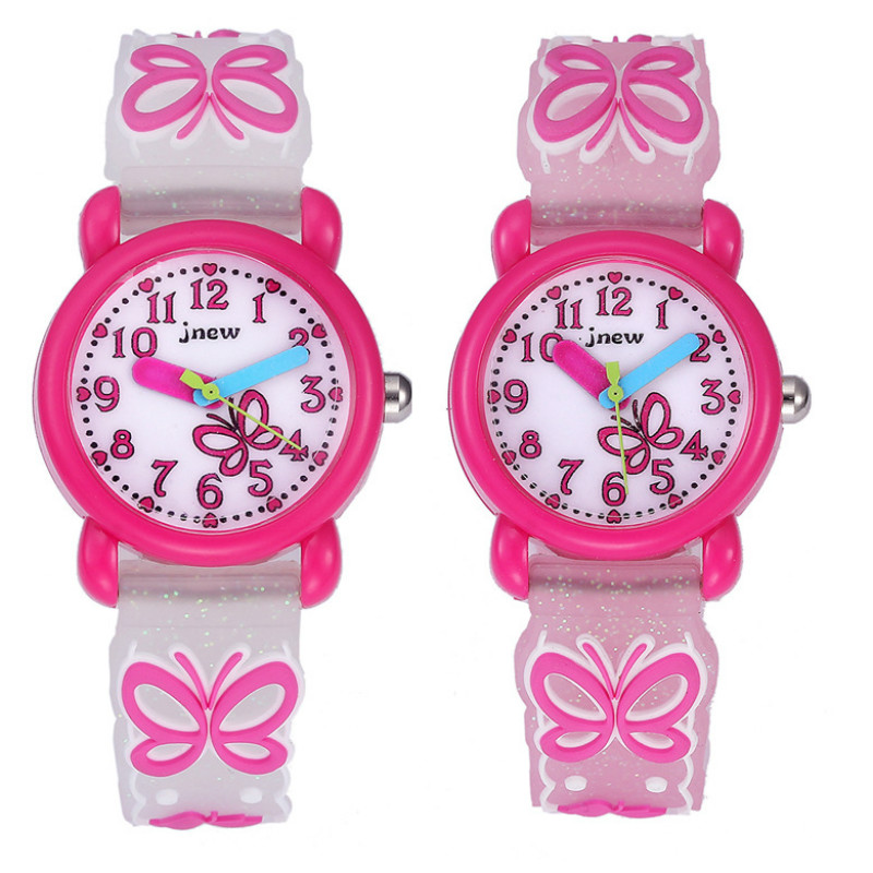 Butterfly 3D Silicone Number Watch Cute Cartoon Waterproof Quartz Watch Primary Boy Girl Kid Student Gift