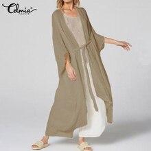 Loose Blouse Shirt Vintage Kimono Long Cardigan Beach-Cover-Up Celmia Plus-Size Women Summer
