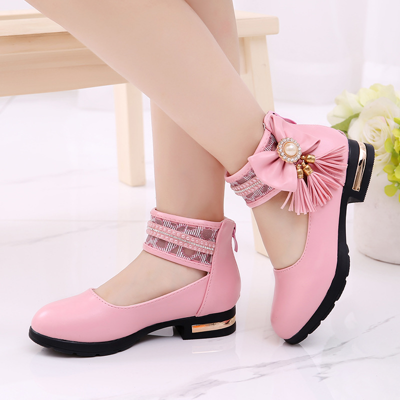 Children's Flats New Arrival Butterfly-knot Tassel Decorative Princess Party Performance Shoes Big Student Girl Shoes For Kids