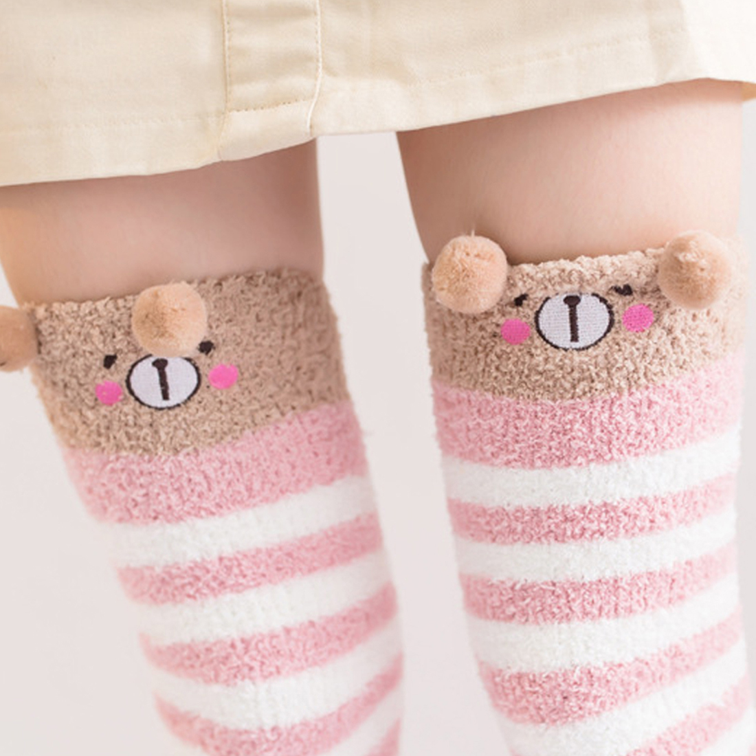 Hot Winter Warm Coral Fleece Long Thigh High Socks Girls Women Animal Modeling Stockings Striped Cute Knee Socks Medias De Mujer