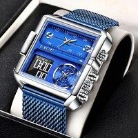 En este momento de los hombres de lujo Digital deportes Relojes LED cuadrado Dial reloj de pulsera de cuarzo analógico Multi-zona de tiempo impermeable cronómetro reloj Masculino