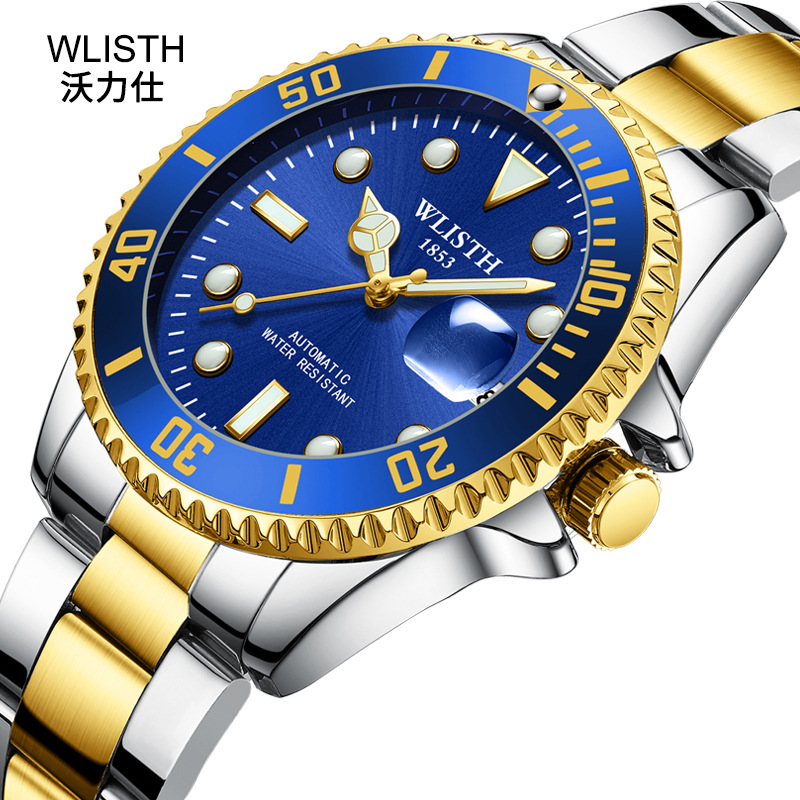 Mechanical Watch Black Blue Green Water Ghost Table Business Automatic Mechanical Watch Luminous Waterproof Sports Watch
