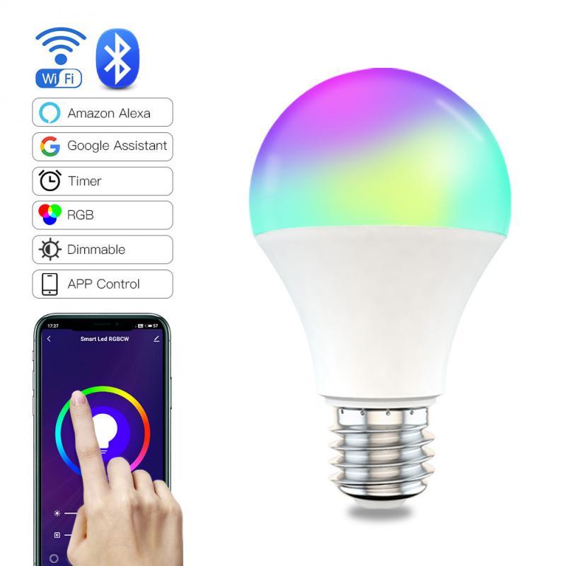 9W WiFi Smart Light Bulb B22 E27 LED RGB Lamp Work With Alexa/Google Home 85-265V RGB+White Dimmable Timer Function Magic Bulb